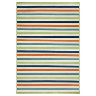 Indoor/ Outdoor Multi-colored Striped Rug (1'8 x 3'7)