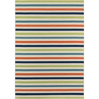 Indoor/ Outdoor Multi-colored Striped Rug (5'3 x 7'6)