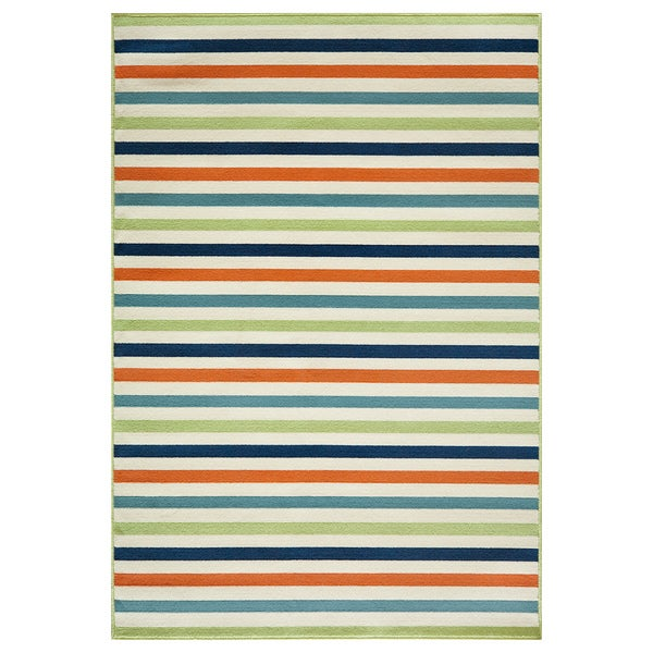 Indoor/ Outdoor Multi-colored Striped Rug (7'10 x 10'10)