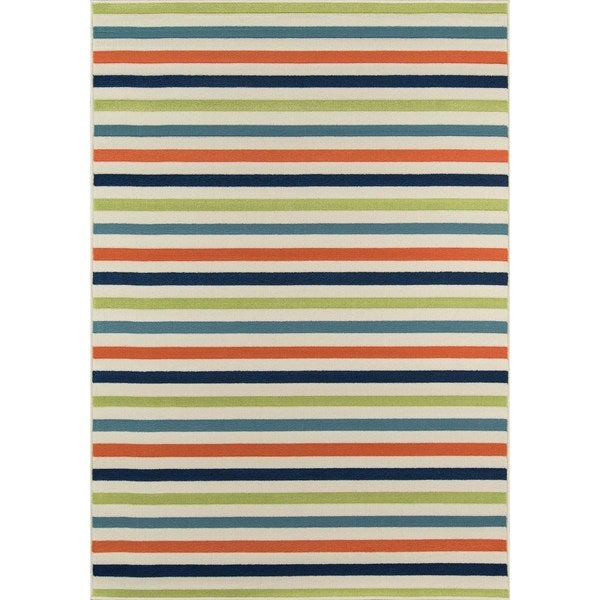 Indoor/ Outdoor Multi-colored Striped Rug (6'7 x 9'6)