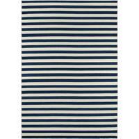 Momeni Baja Stripe Navy Indoor/Outdoor Area Rug (5'3 x 7'6)