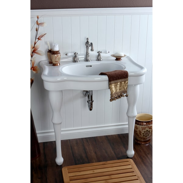 Attirant Vintage 32 Inch For 8 Inch Centers Wall Mount Pedestal Bathroom Sink Vanity