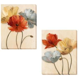 Nan 'Poppy Palette I and II' 2-piece Canvas Set