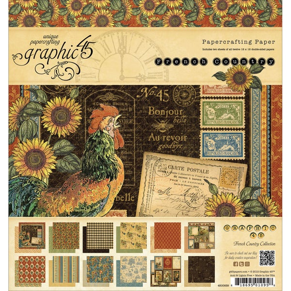 "French Country Double-Sided Paper Pad 8""X8""-26 Sheets - 26 Designs/1 Each"