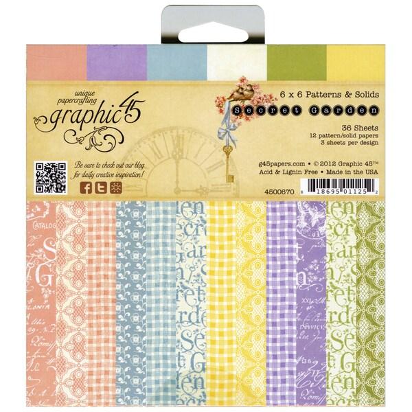 "Secret Garden Patterns & Solids Paper Pad 6""X6""-36 Sheets"