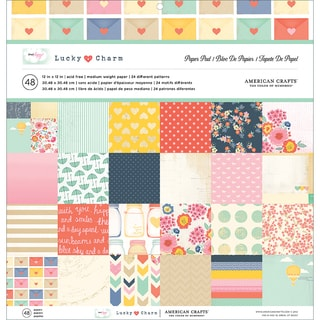 """Dear Lizzy Lucky Charm Paper Pad 12""""X12"""" 48/Sheets-24 Single-Sided Designs/2 Each"""