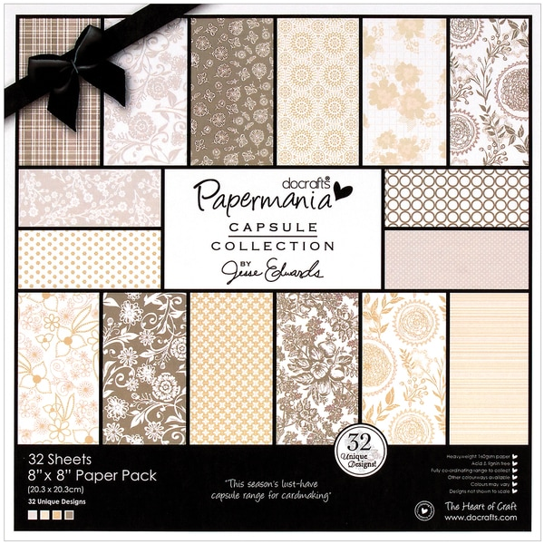 """Papermania Lincoln Linen Paper Pack 8""""X8"""" 32/Sheets-32 Designs, 160gsm/60# Cover Wt"""