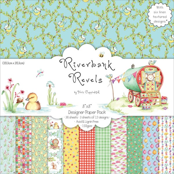 """Riverbank Revels Paper Pack 8""""X8"""" 36 Sheets-12 Designs/3 Each"""