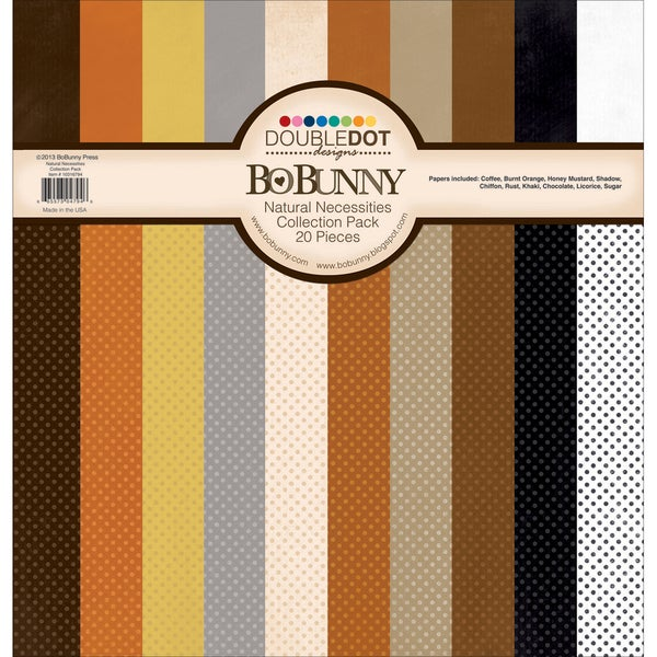 "Double Dot Cardstock Collection Pack 12""X12""-Natural Necessities"