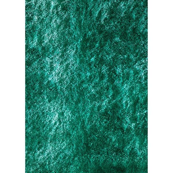 Handmade Posh Teal Shag Rug (5' x 7')