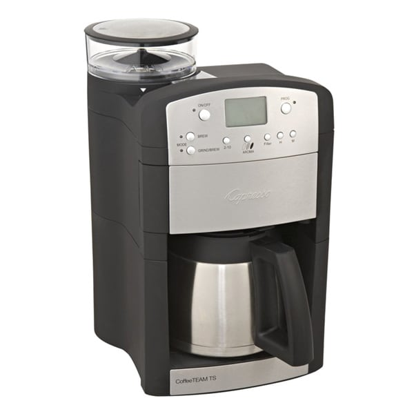 Capresso 465 CoffeeTeam TS 10-cup Digital Coffeemaker with Conical Burr Grinder and Thermal ...