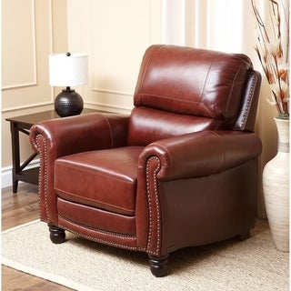 Abbyson Baron Hand Rubbed Pushback Leather Recliner