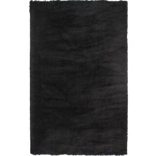 Handmade Posh Black Shag Rug (2' x 3')