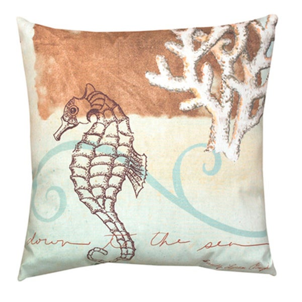 Overstock Decorative Throw Pillows : Watercolor Seahorse 20-inch Decorative Throw Pillow - Free Shipping On Orders Over $45 ...