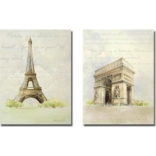 Lanie Loreth 'Eiffel Tower and Arc de Triomphe' 2-piece Canvas Art Set
