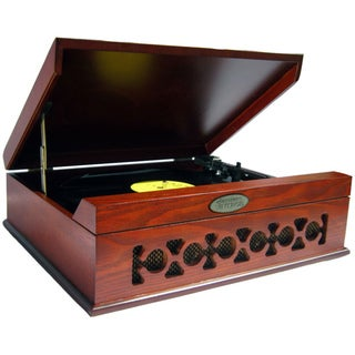 Pyle Vintage Style Phonograph/Turntable with USB-To-PC Connection (Mahogany)