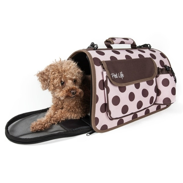 Pet Life Airline Approved Folding Zippered Large Polka Dot Pet Dog Carrier