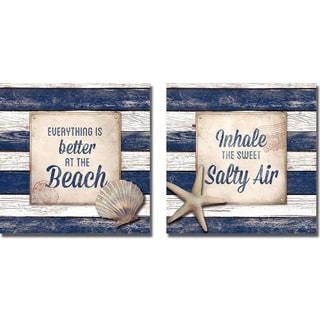 Elizabeth Medley 'Beach and Salty Air' 2-piece Canvas Art Set