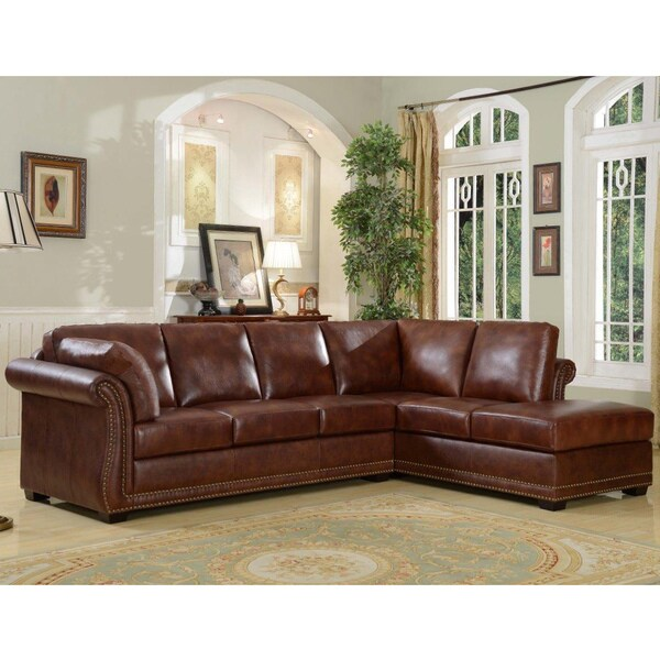 Brown Top Grain Leather Highpoint Sectional