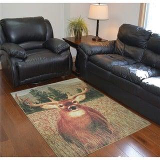 Lodge Buck Area Rug (4' x 5'8)