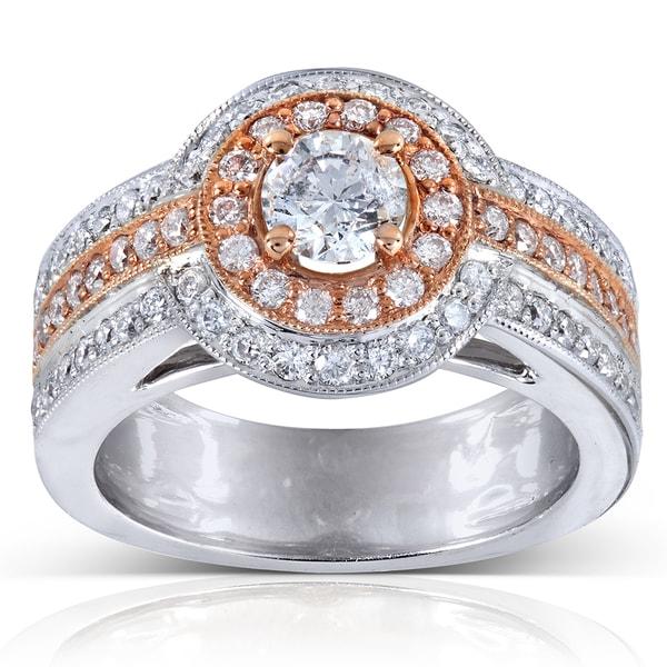 Annello by Kobelli 14k Gold 1.10ct TDW Rose Accent Multi Row Diamond Ring (H-I, I1-I2)