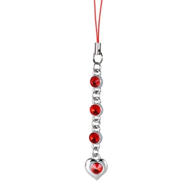 INSTEN Diamond Heart Cell Phone Charm - Red
