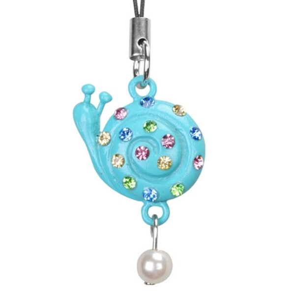 INSTEN Baby Blue Snail Pearl Diamante Cell Charm