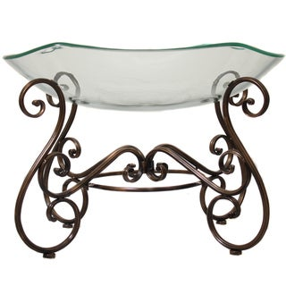 Casa Cortes Hotel Standard Large Glass Bowl Center Piece and Metal Stand