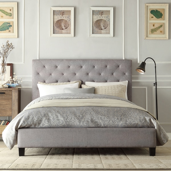Shop Inspire Q Kingsbury Grey Linen Tufted King Sized