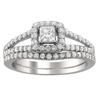 Montebello 14k Gold 1ct TDW Princess-cut Diamond Halo Bridal Ring Set (H-I, I1-I2)