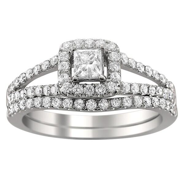 Montebello 14k Gold 1ct TDW Princess-cut Diamond Halo Bridal Ring Set (H-I, I1-I2)