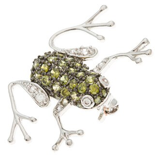 Kate Bissett Silvertone Green and White Cubic Zirconia Frog Brooch