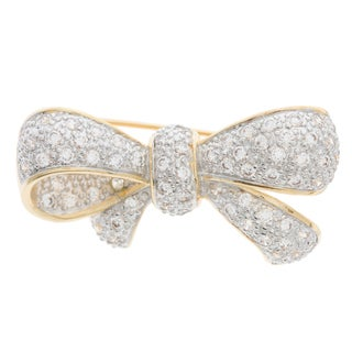 Kate Bissett Two-tone Pave Cubic Zirconia Bow Brooch