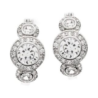 Kate Bissett Silvertone Clear Cubic Zirconia Legacy Hoop Earrings