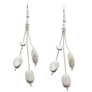 Kate Bissett Silvertone Matte and Shiny Beaded Drop Earrings