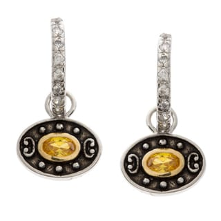 Kate Bissett Silvertone Yellow and White CZ Desired Eyes Earrings