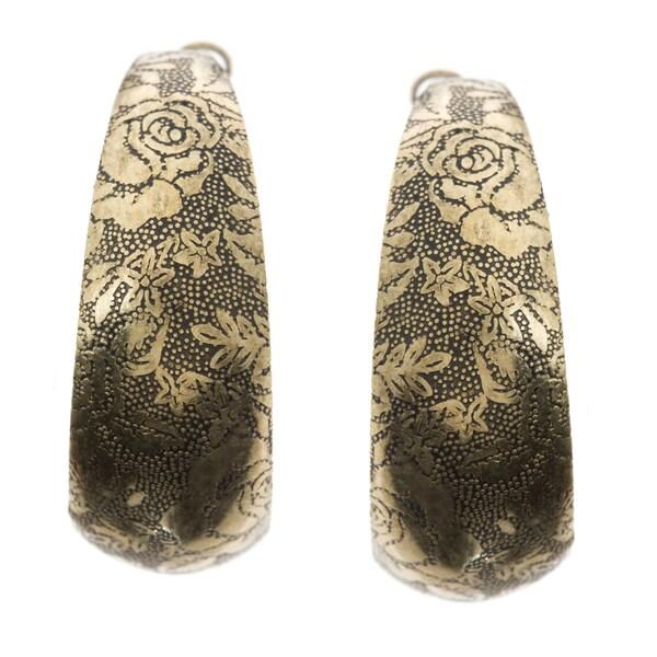 Kate Bissett Goldtone 'Walls of Golden Roses' Earrings