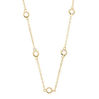 Kate Bissett Gold Overlay CZ 60-inch Station Necklace