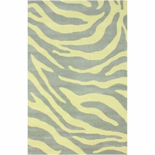 nuLOOM Handmade Modern Zebra Yellow/ Grey Wool Rug (5' x 8')