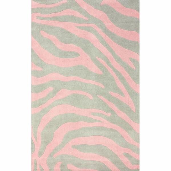 NuLOOM Handmade Modern Zebra Pink/ Grey Wool Rug (5' X 8