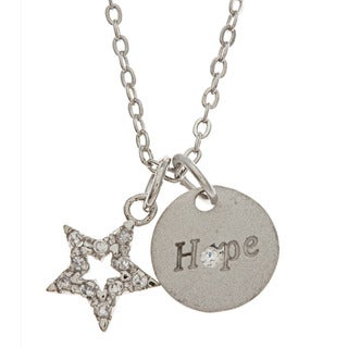 Kate Bissett Star and 'Hope' Pave-set CZ Charm Necklace
