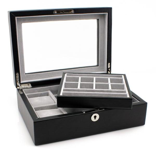 Heiden Executive Black Leather Valet Box