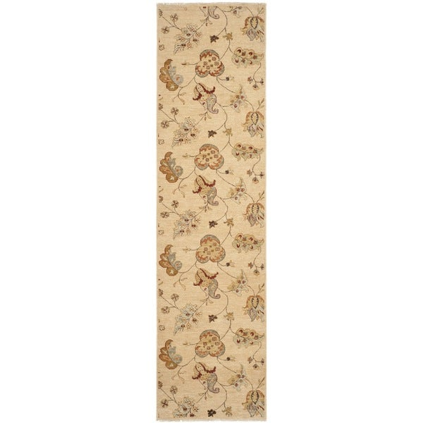 Safavieh Hand-knotted Agra Beige Wool Rug (2' 6 x 10')
