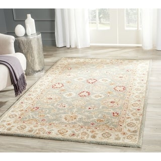 Safavieh Handmade Antiquity Blue-grey/ Beige Wool Rug (2' x 3')