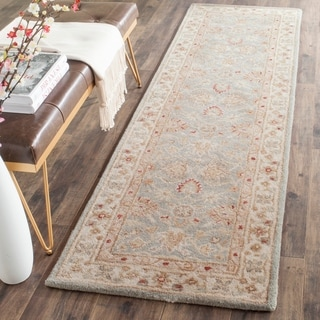 Safavieh Handmade Antiquity Blue-grey/ Beige Wool Rug (2'3 x 10')