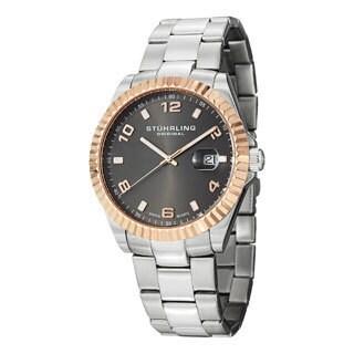 Stuhrling Original Men's Regency Quartz Rose-Tone-Bezel Stainless-Steel Bracelet Watch
