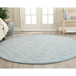 Safavieh Handmade Moroccan Blue Wool Rug with Cotton Canvas Backing (7' Round)