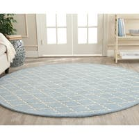 Safavieh Handmade Moroccan Blue Wool Rug with Cotton Canvas Backing - 7' Round