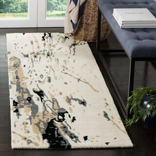 Safavieh Handmade Bella Modern Abstract Ivory/ Grey Wool Runner Rug (2' 3 x 7')