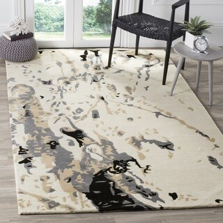 Safavieh Handmade Bella Modern Abstract Ivory/ Grey Wool Rug (5' x 5' Square)